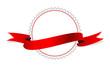 Weißes Etikett mit rotem Band