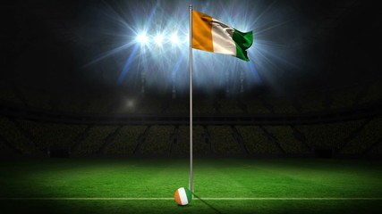 Ivory Coast national flag waving on flagpole