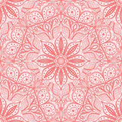 Pink seamless pattern of round lacy napkins.