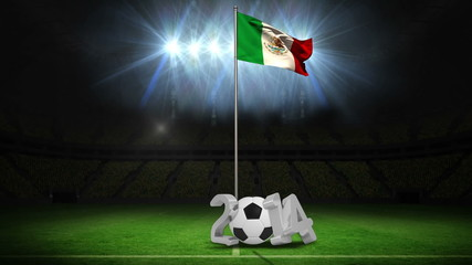Mexico national flag waving on flagpole with 2014 message