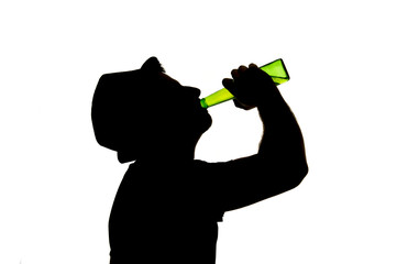 alcoholic man with beer bottle in youth fun silhouette