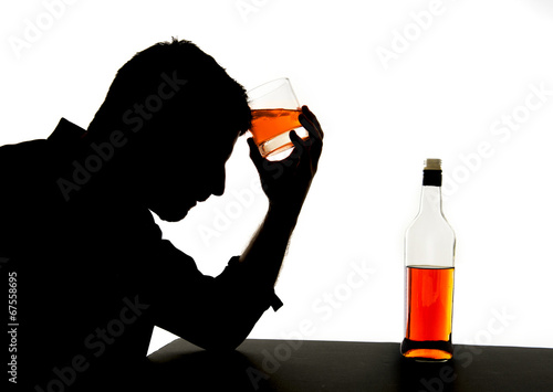 alcoholic man with whiskey glass alcohol addiction silhouette - 67558695