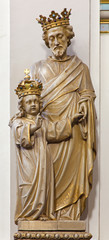 Bruges - carved statue of st. Joseph in Carmelites church