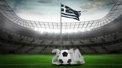Greece national flag waving on flagpole with 2014 message