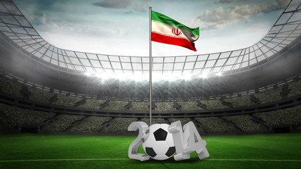 Iran national flag waving on flagpole with 2014 message