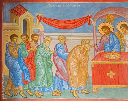 Fototapeta Bruges - Fresco of Communion of the apostle in orthodox church