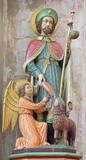 Mechelen - carved and polychromed statue of st. Roch