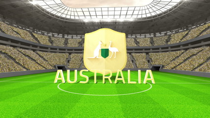 Australia world cup message with badge and text