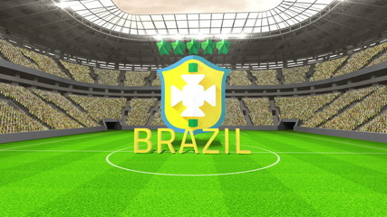 Brazil world cup message with badge and text