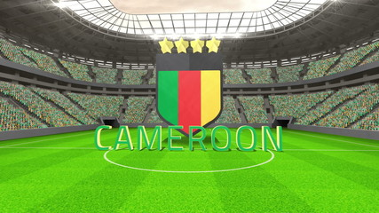 Cameroon world cup message with badge and text
