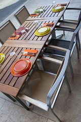Table set in a patio
