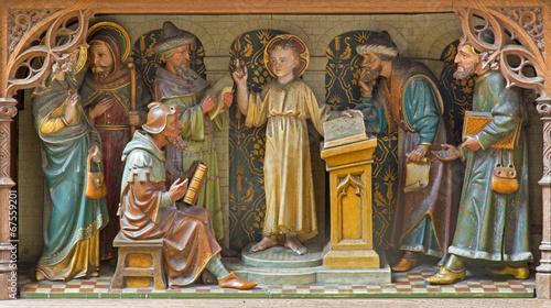 Mechelen - Boy Jesus teaching in the Temple - carving - 67559201