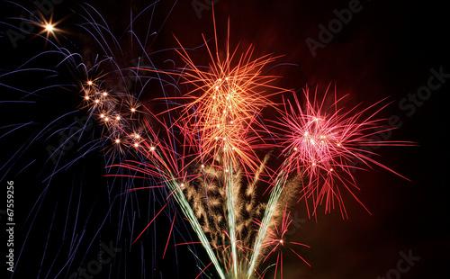 Exploding fireworks bursts close-up