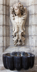 Brussels - stoup in church Notre Dame du Bon Secource
