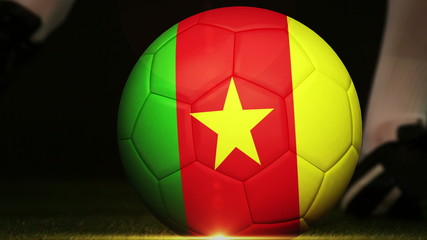 Football player kicking cameroon flag ball