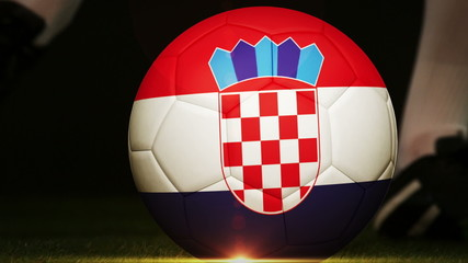 Football player kicking croatia flag ball