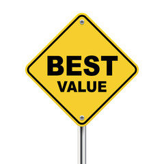 3d illustration of yellow roadsign of best value