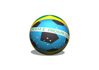 Brazil Map and Soccer ball 2014