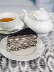 Crape cake with dajeeling tea