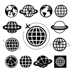 Globe vector icons set