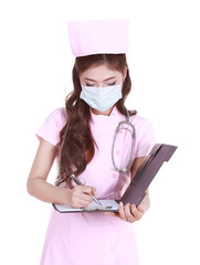 female nurse writting medical report