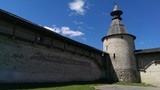 Kremlin, ancient fortress in Russian town Pskov poster
