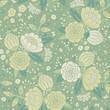 Seamless vintage pattern with decorative flowers.