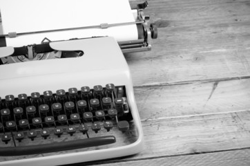 Typewriter ready for action