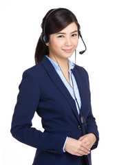 Telemarketing headset woman