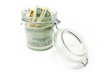 image storage dollars in a glass jar