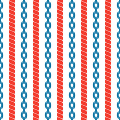 Seamless striped pattern with ropes and chains.