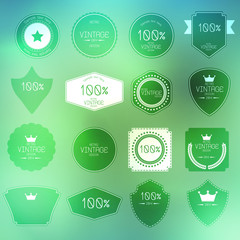 retro vintage badges and labels on abstract background