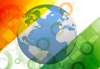 Globe on Indian flag background