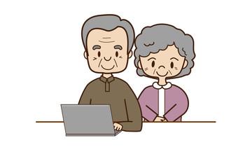 老夫婦とパソコン