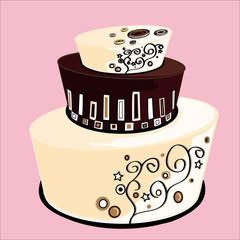 wedding cake a tre piani al cioccolato