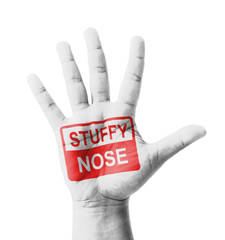Open hand raised, Stuffy Nose (Nasal congestion) sign painted