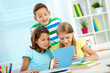 Children with touchpad