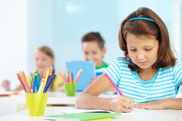 Schoolgirl drawing
