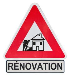 panneau travaux chantier rénovation maison