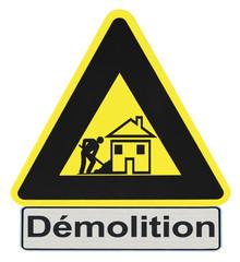 panneau travaux chantier démolition maison