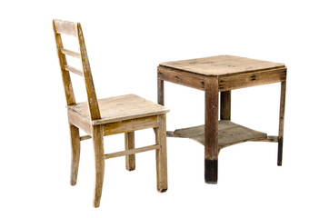 old wooden chair and table