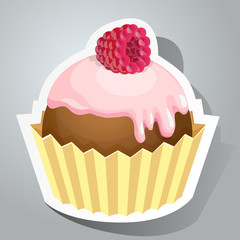 Sweet sticker with cupcake