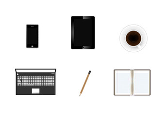 digital tablet with coffee cup and phone icon