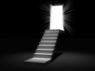 stair with the opening door 3D