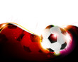 Soccer ball on wavy red  background