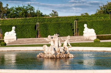 Fountain in Belvedere Gardens in Vienna