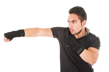 hispanic man martial arts fighter wearing black t-shirt