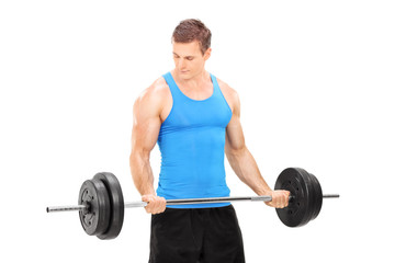 Male bodybuilder holding a barbell