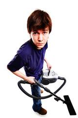 Man with vacuum cleaner.