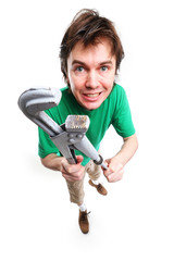 Man with adjustable spanner.